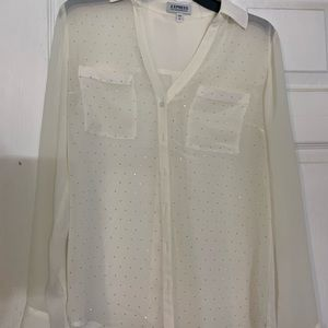 Express Small Off white button down top